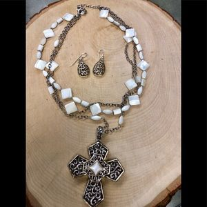 Barse mother of pearl cross necklace